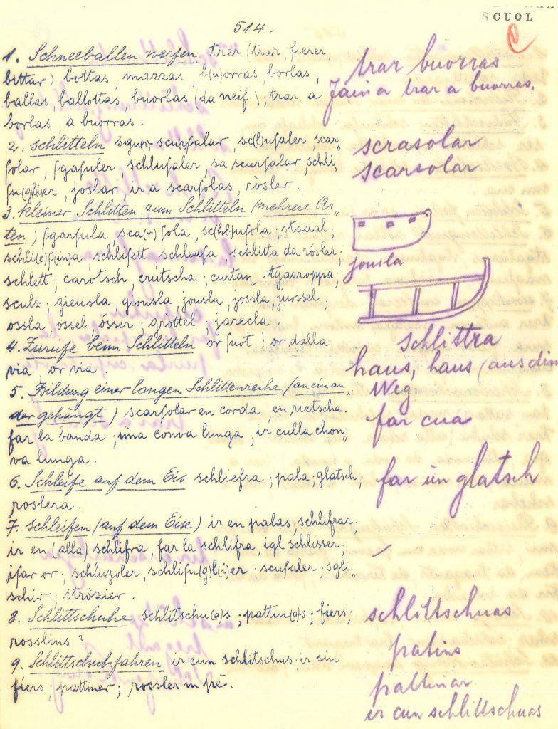 Abb. 5: Beispiel aus Scuol im Unterengadin – Links die vorgedruckten Fragen mit den Beispielen und rechts die Antworten des Korrespondenten. Zusätzlich ist eine Skizze zu sehen, die der Korrespondent zu verschiedenen Schlittenmodellen gemacht hat.