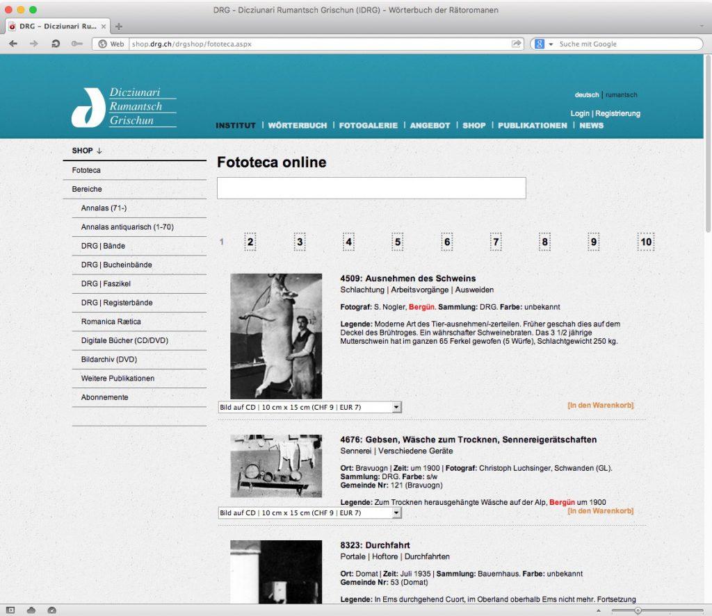 Abb. 6: Die «Fototeca online» auf der Website des DRG (shop.drg.ch).