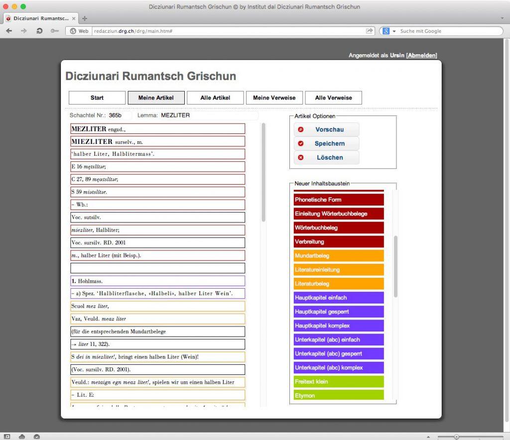 Abb. 7: Das neue Redaktionssystem des DRG – links die bereits erfassten Bausteine, rechts der «Baukasten» mit den zur Auswahl stehenden Inhaltsbausteinen.