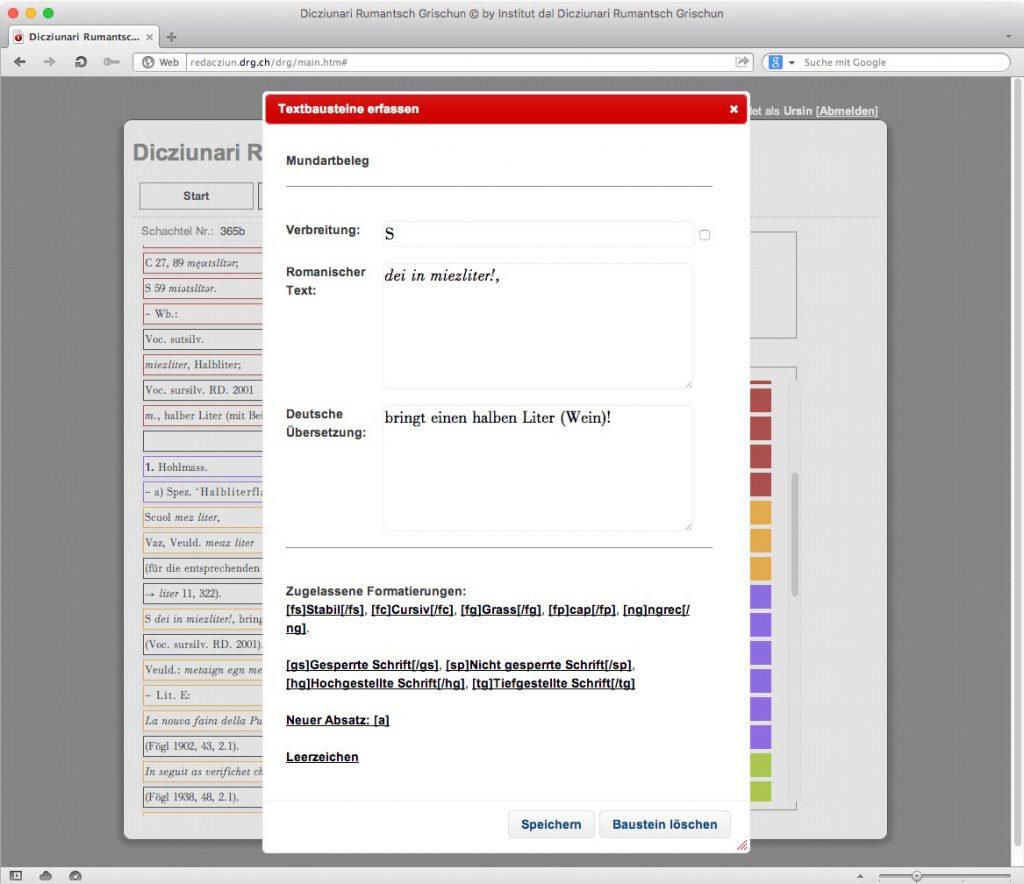 Abb. 8: Erfassung der einzelnen Textfelder eines Inhaltsbausteins.